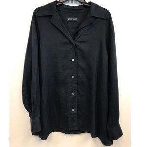 Ellen Tracy black button down woven top XL
